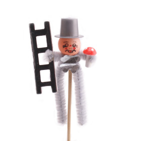 Chimney sweeper 8cm on 15cm stick silver