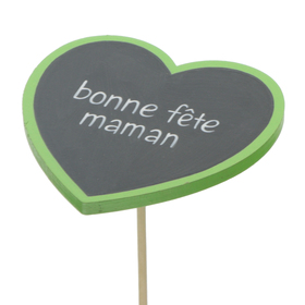 Heart Bonne Fête Maman 8cm on 50cm stick FSC Mix green