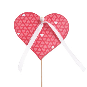 Card Little Love 8cm on 50cm stick red