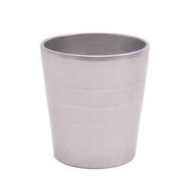 Ceramic Pot Linn 5in metallic silver