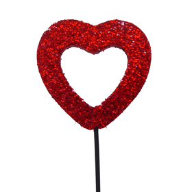Heart Medium Open Glitter 2.75 in on 20 in stick red