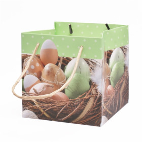 Easter bag Eggs 13x13x13cm green