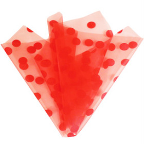 ORGANZA DOTS 20X28 IN WITH 3IN HOLE RED