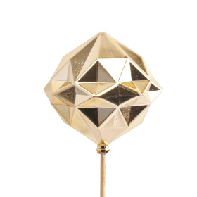 Xmas Ball Diamond 3 in on 20 in stick gold