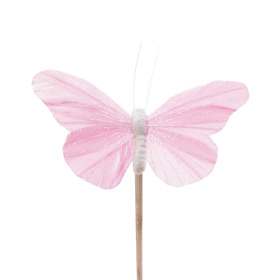 Butterfly Rosy 10.5cm on 50cm stick pastel pink