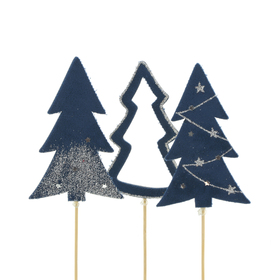 Trees Natalee 10cm on 50cm stick ass. x3 FSC Mix dark blue