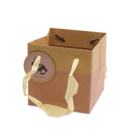 Draagtas Easter Bunny 10x10x10cm geel