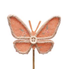 Butterfly Linn 8.5cm on 10cm stick orange