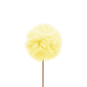 Fluffy ball 5cm on 10cm stick yellow