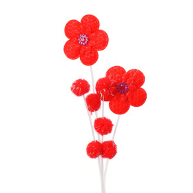 Pompon Flower 12cm on 50cm stick red