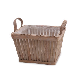 Wooden planter Sticks 18x18 H12cm natural