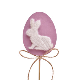 Flocked Bunny Plate 8cm on 10cm stick purple