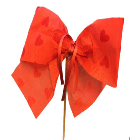 Bow Send Love 10cm on 50cm stick red