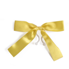 Plastic bow 10cm with clip yellow
