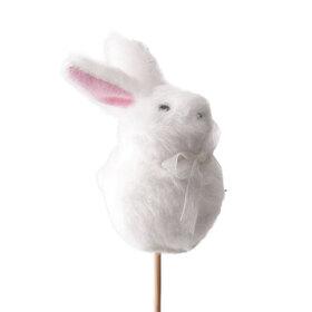 Konijn Fuzzy Bunny 8cm op 50cm stok wit