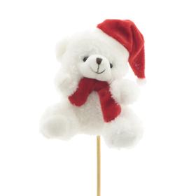 Bear Lou 10x8cm on a 50cm stick white