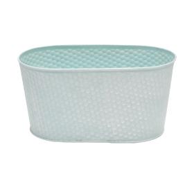 Zinc Oval Honeycomb 9.4x4.7xh4.7 in blue