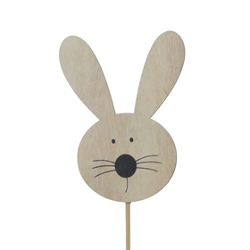 Rabbit Bobby 10cm on 50cm stick FSC Mix natural