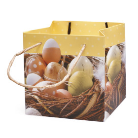 Easter bag Eggs 13x13x13cm yellow