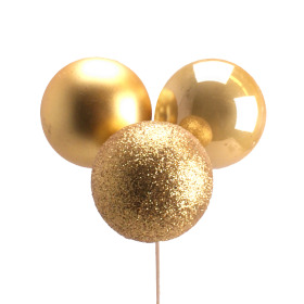 Christmas Balls Trio Mixed 4cm on 50cm stick gold