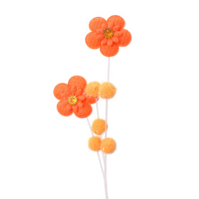 Pompon Flower 12cm on 50cm stick orange