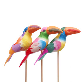 Toucan 10cm on 50cm stick assorted