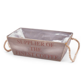 "Wooden Crate ""Finest Coffee"" 12.2x7.1 in gray"