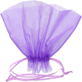 Organza Bqt roset Holder 20x12 in lilac