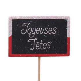 Wooden plate Joyeuses Fêtes 7.5x5cm on 15cm stick red