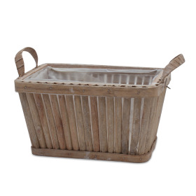Wooden planter Sticks 22x15 H12cm natural