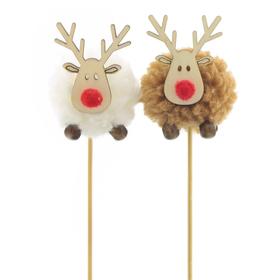 Reindeer Ren 4cm on 10cm stick FSC Mix assorted x2