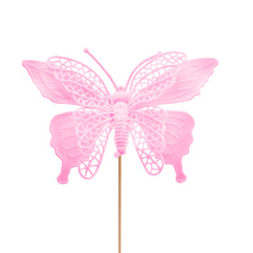 Butterfly Max 16cm on 50cm stick pink