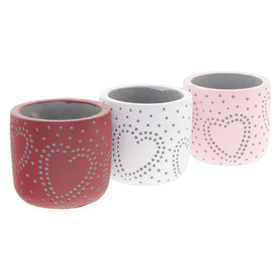 Beton pot Hearts & Dots ES6 assorti x3