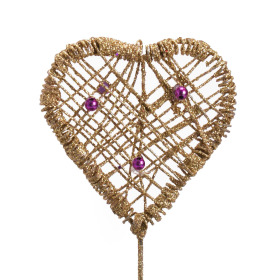 Heart Iron 7cm gold with pink pearls