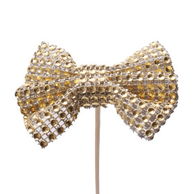 Bow Glitter & Glamour 8cm on 50cm stick gold