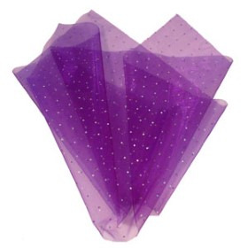 ORGANZA JEWEL 20X28 IN  WITH HOLE PURPLE