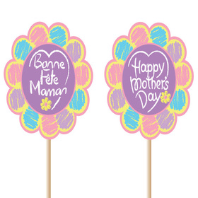 Happy Mother's Day 9cm on a 50cm stick (french/english)