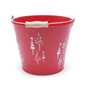 Zinc Bucket X-Mas Tree Ø18.5 H14.5cm red