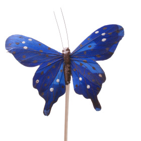 Butterfly Tropicana 8cm on 50cm stick blue