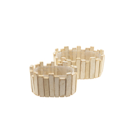 Wooden planter Maud oval 25x16 H11cm natural