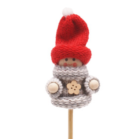 Winter Doll Scotty 6.5cm on 10cm stick gray/white