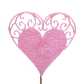 Heart Little Romance 7cm on 10cm stick pink