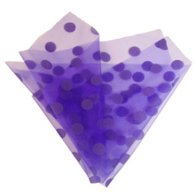ORGANZA DOTS 20X28 IN WITH 3IN HOLE PURPLE