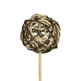 Rattan Ball 2.3 in on 20 in stick natural/brown