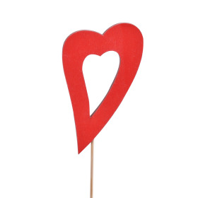 Heart Evelyn 6cm on 10cm stick red