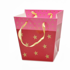 Carrybag Stars Glossy 15/13x11/10x14cm pink
