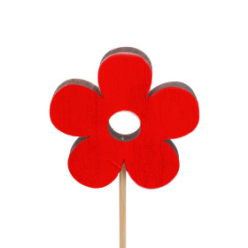 Flower Power 8cm on 50cm stick red