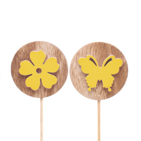 Flora and Fauna assorti 5.5cm on 10cm stick yellow