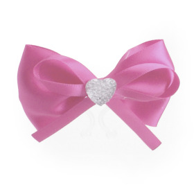 Diamond Bow 8cm with clip pink
