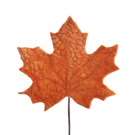 Velvet Autumn Leaf 13cm on 10cm stick orange